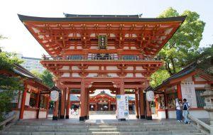 生田神社の桜門 ロケーションフォトはココロスタジオへ