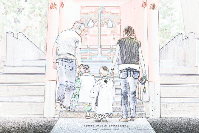 神戸の生田神社内にある稲荷神社 七五三ロケーションはココロスタジオ