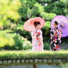 神戸で七五三写真、7歳女児四つ身レンタル|神戸市中央区、相楽園