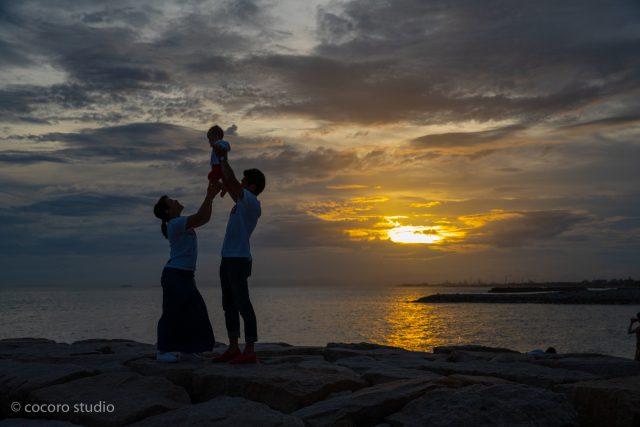 夕陽撮影はココロスタジオ|林崎松江海岸